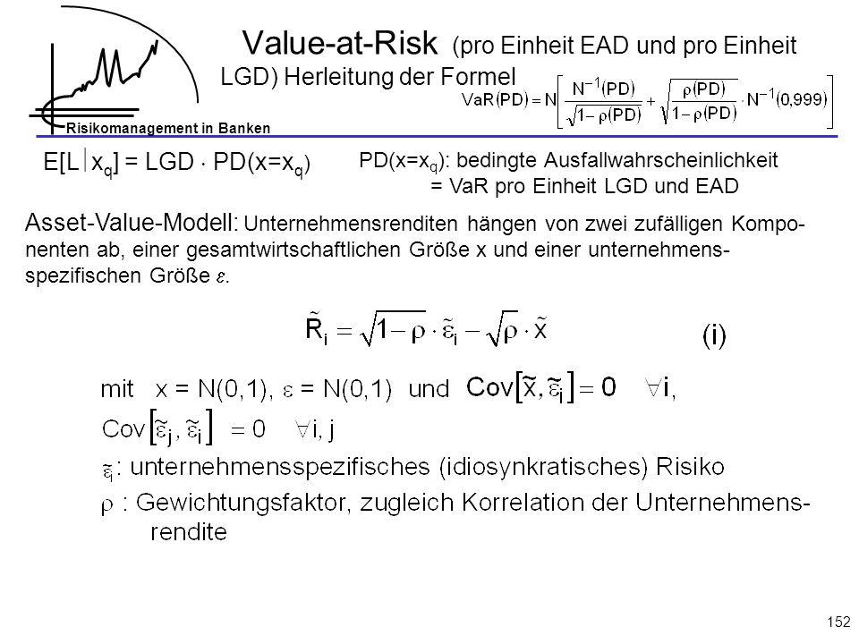 Value-at-Risk (pro Einheit EAD und pro Einheit LGD) Herleitung der Formel