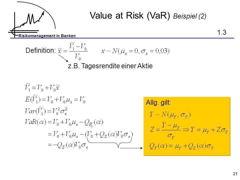 Value at Risk (VaR) Beispiel (2)