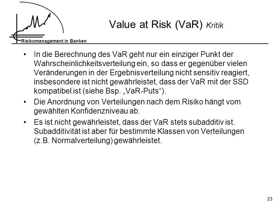 Value at Risk (VaR) Kritik