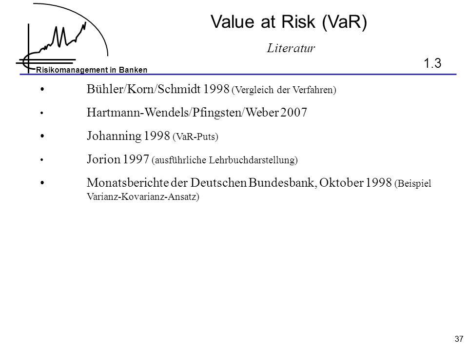 Literatur Value at Risk (VaR) 1.3