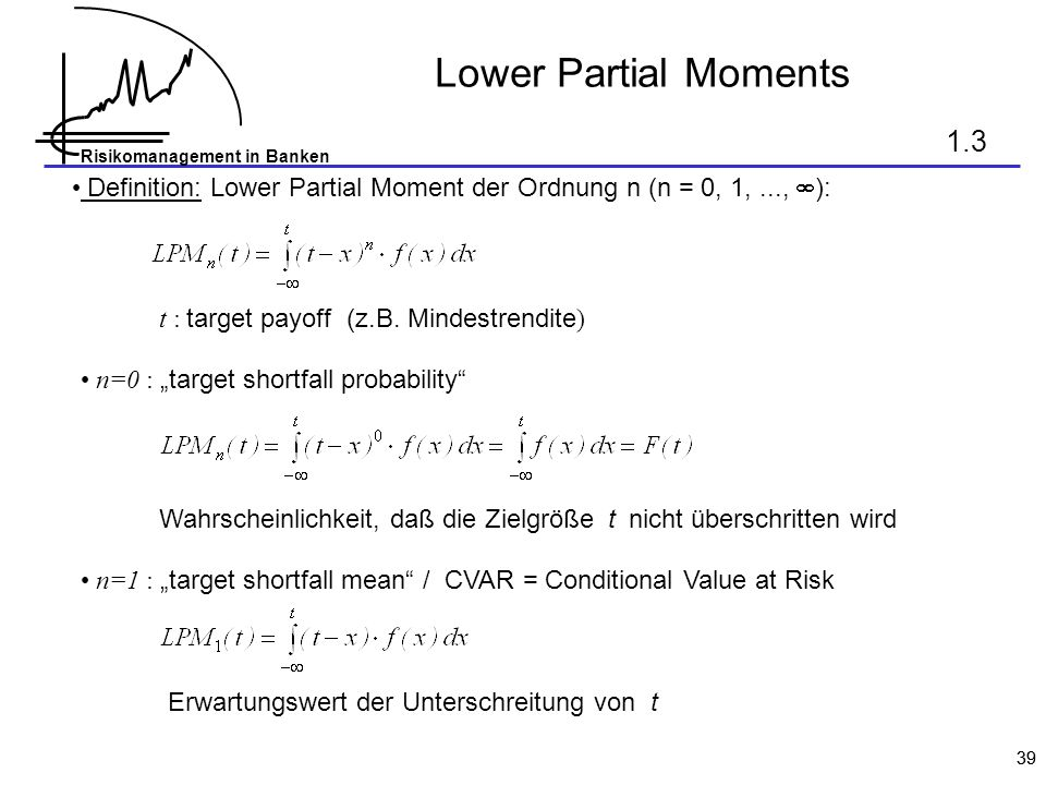 Lower Partial Moments 1.3. Definition: Lower Partial Moment der Ordnung n (n = 0, 1, ..., ): t : target payoff (z.B. Mindestrendite)