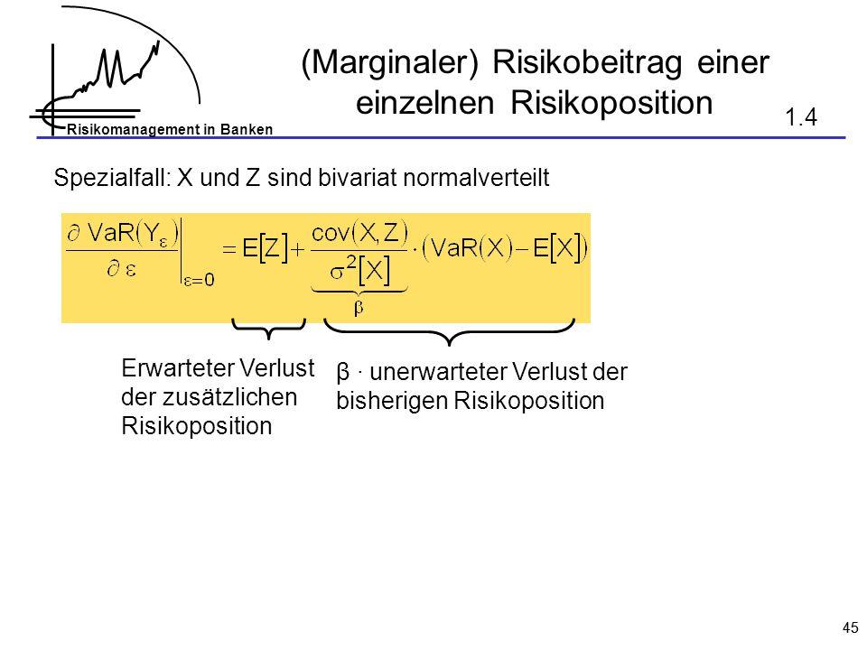 (Marginaler) Risikobeitrag einer einzelnen Risikoposition