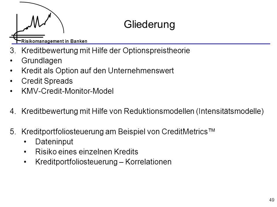 Gliederung 3. Kreditbewertung mit Hilfe der Optionspreistheorie