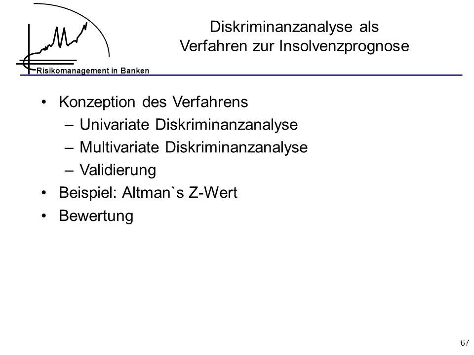 Diskriminanzanalyse als Verfahren zur Insolvenzprognose