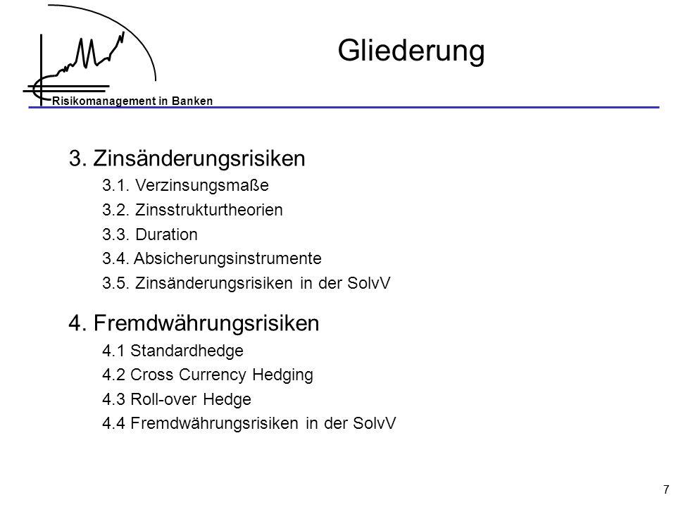 Gliederung 3. Zinsänderungsrisiken 4. Fremdwährungsrisiken