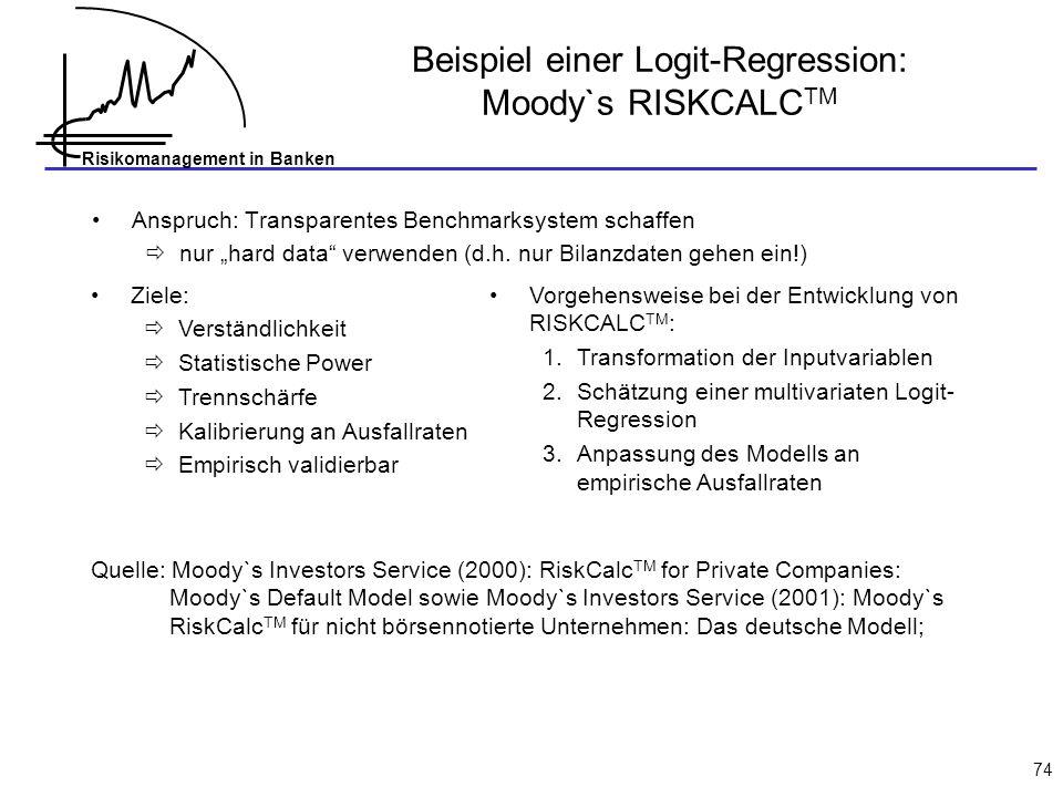Beispiel einer Logit-Regression: Moody`s RISKCALCTM