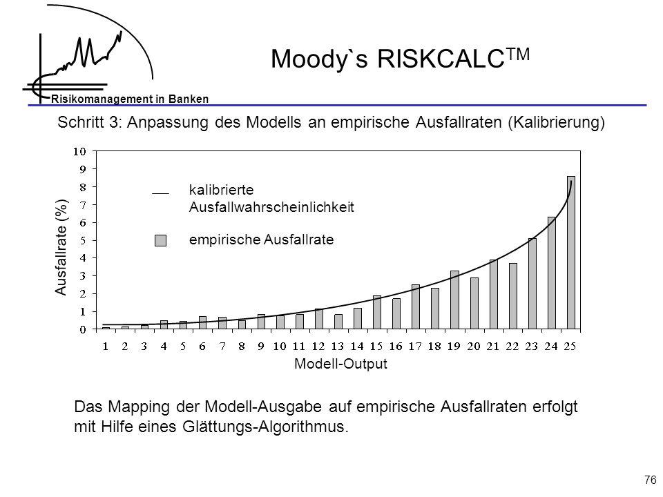 Moody`s RISKCALCTM Schritt 3: Anpassung des Modells an empirische Ausfallraten (Kalibrierung) kalibrierte Ausfallwahrscheinlichkeit.