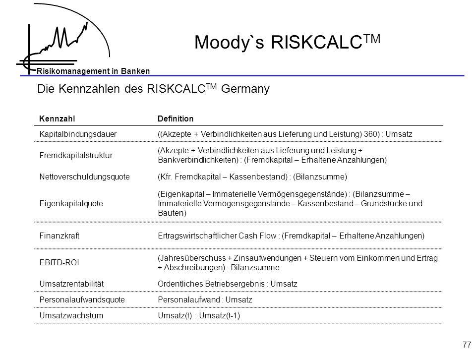 Moody`s RISKCALCTM Die Kennzahlen des RISKCALCTM Germany Kennzahl
