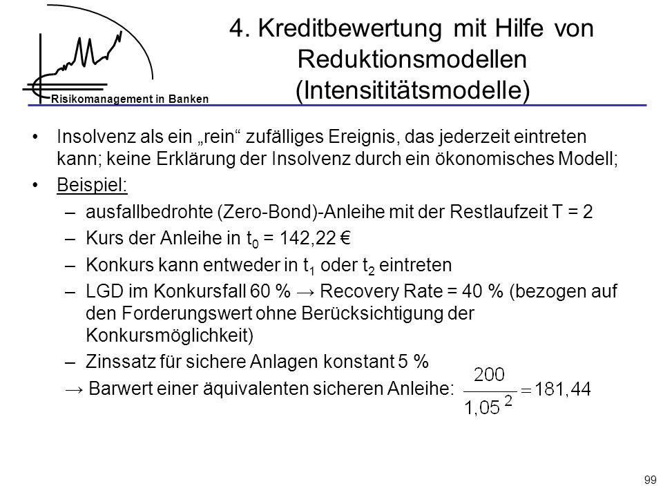 4. Kreditbewertung mit Hilfe von Reduktionsmodellen (Intensititätsmodelle)