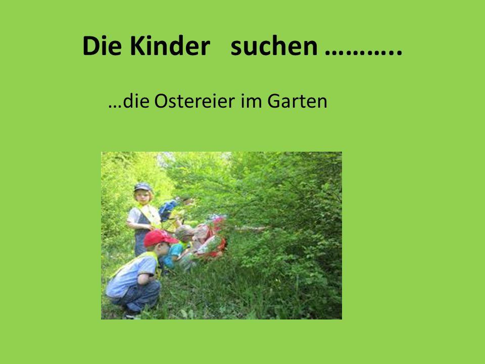 Die Kinder suchen ……….. …die Ostereier im Garten