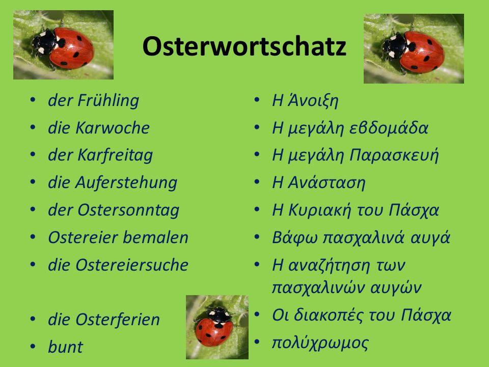 Osterwortschatz der Frühling die Karwoche der Karfreitag