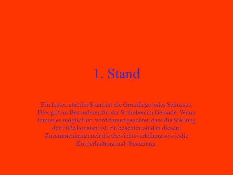 1. Stand