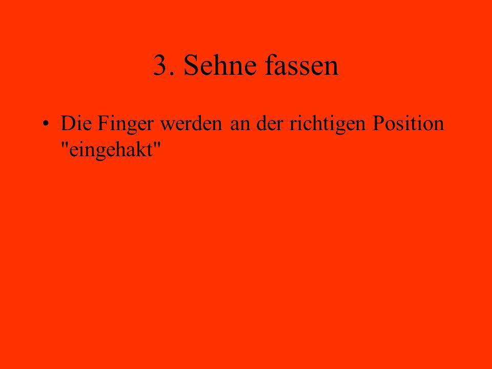 3. Sehne fassen Die Finger werden an der richtigen Position eingehakt