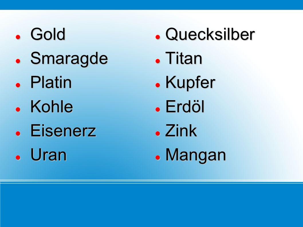 Gold Smaragde Platin Kohle Eisenerz Uran Quecksilber Titan Kupfer Erdöl Zink Mangan