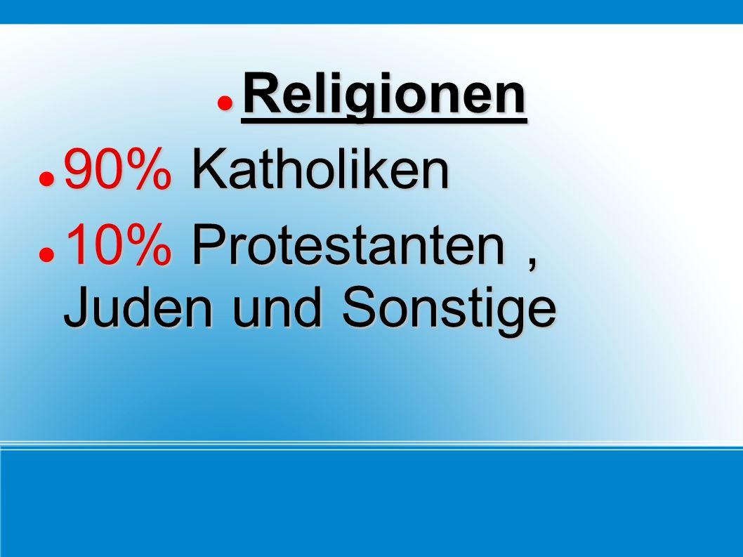 Religionen 90% Katholiken 10% Protestanten , Juden und Sonstige