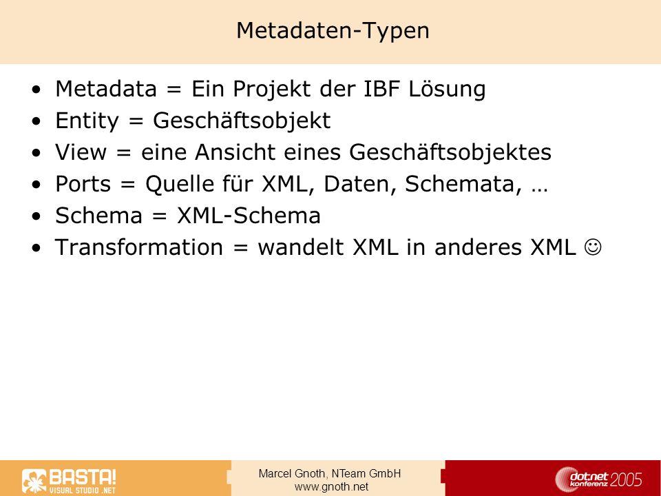 Metadaten-Typen Metadata = Ein Projekt der IBF Lösung. Entity = Geschäftsobjekt. View = eine Ansicht eines Geschäftsobjektes.
