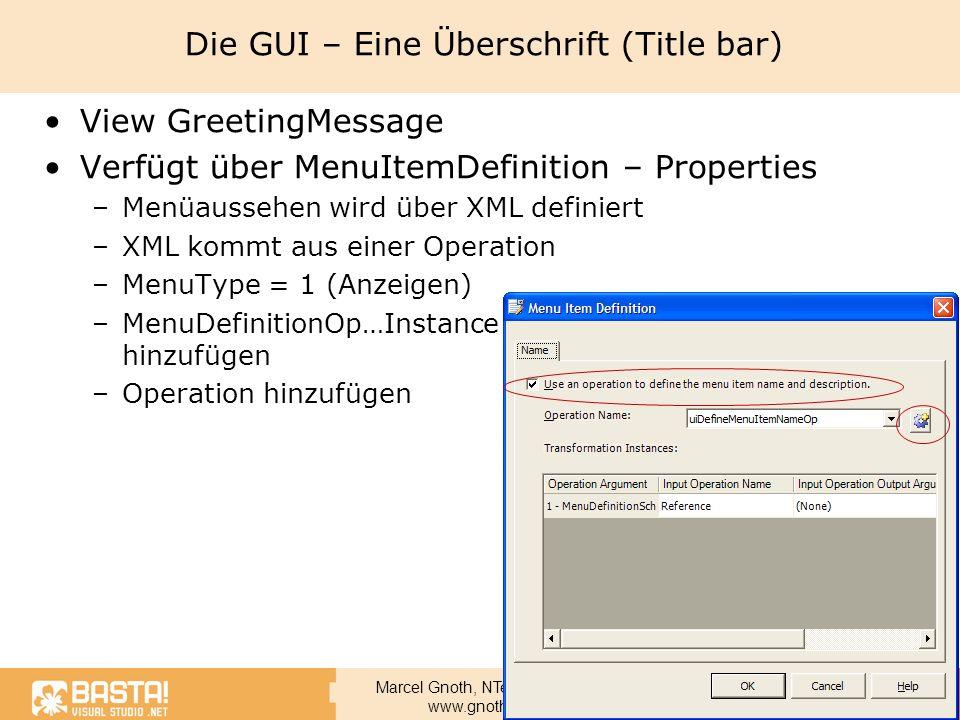 Die GUI – Eine Überschrift (Title bar)
