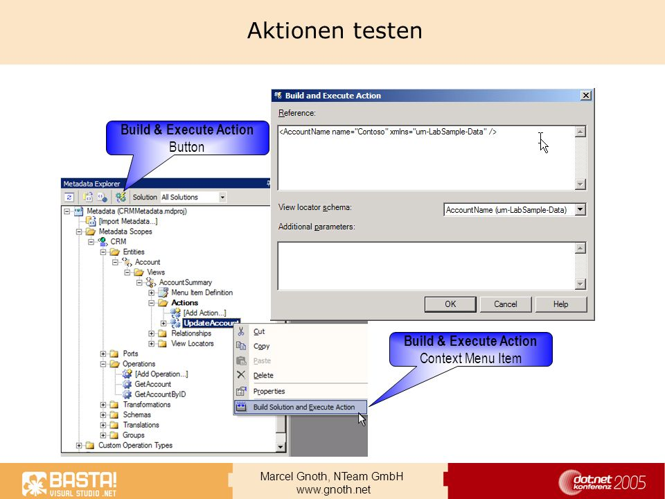 Aktionen testen Build & Execute Action Button