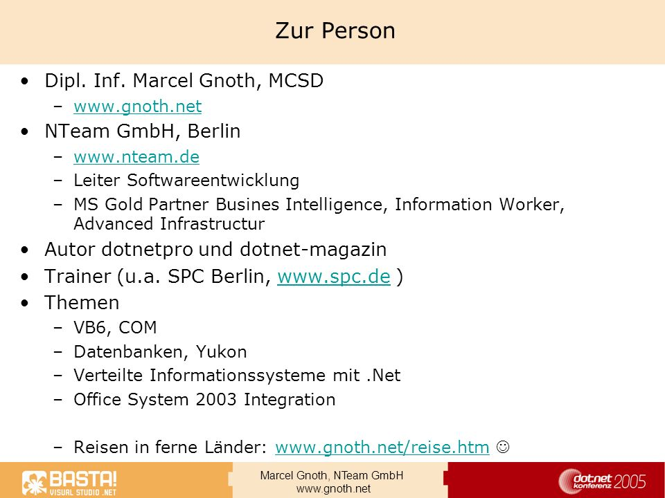Zur Person Dipl. Inf. Marcel Gnoth, MCSD NTeam GmbH, Berlin