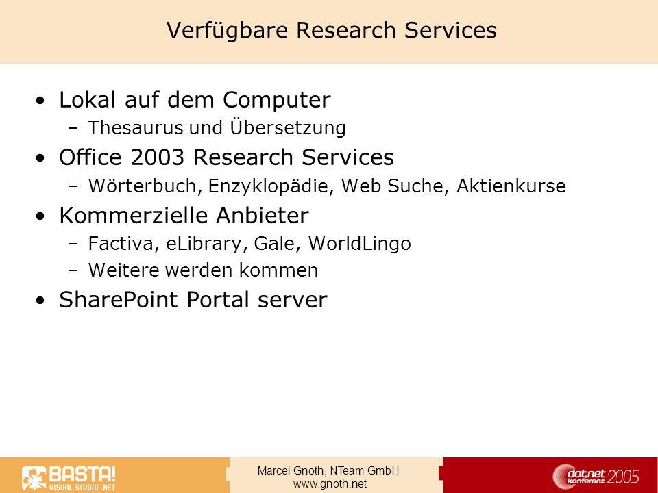 Verfügbare Research Services