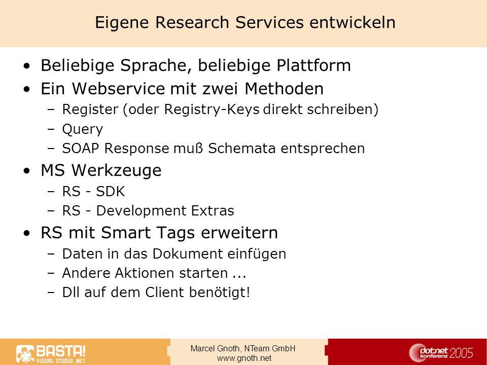 Eigene Research Services entwickeln