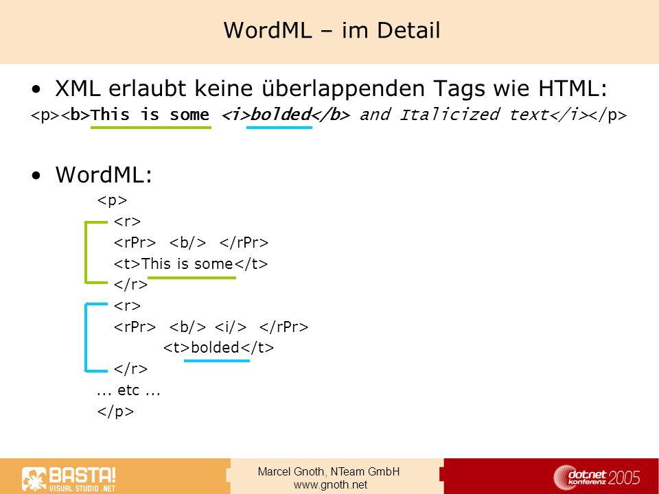 XML erlaubt keine überlappenden Tags wie HTML: