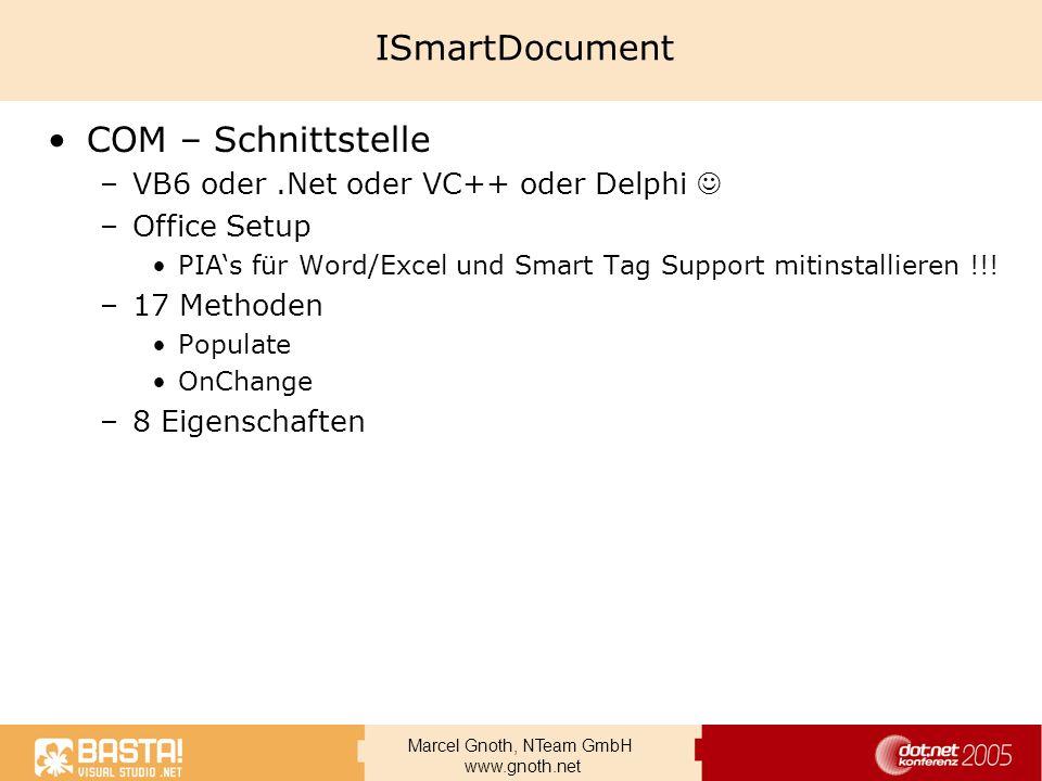 ISmartDocument COM – Schnittstelle