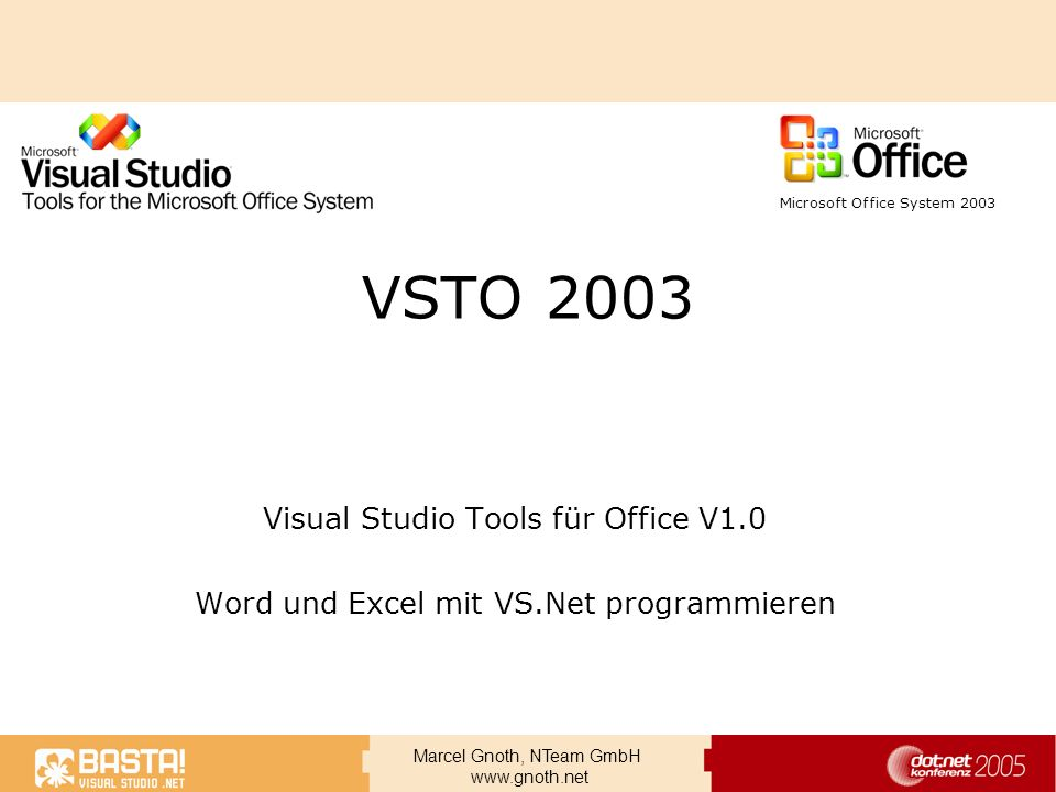VSTO 2003 Visual Studio Tools für Office V1.0