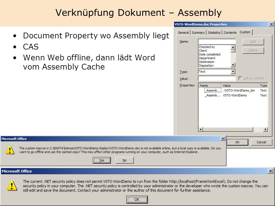 Verknüpfung Dokument – Assembly