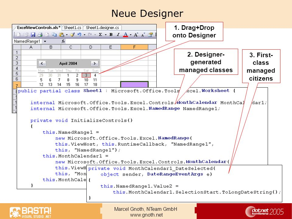 Neue Designer 1. Drag+Drop onto Designer
