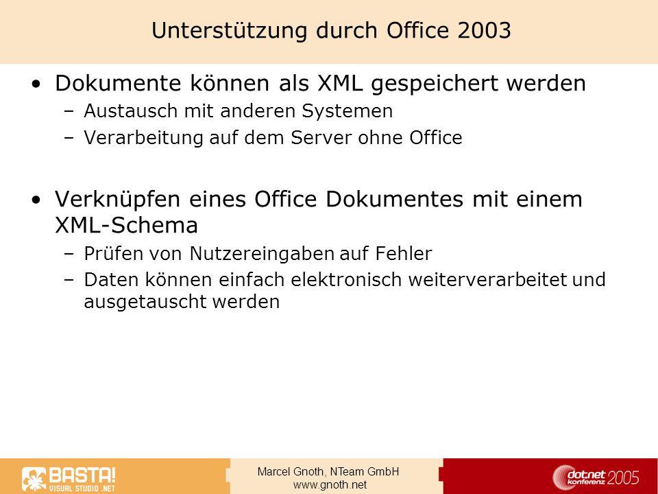 Unterstützung durch Office 2003