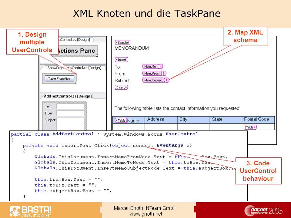 XML Knoten und die TaskPane