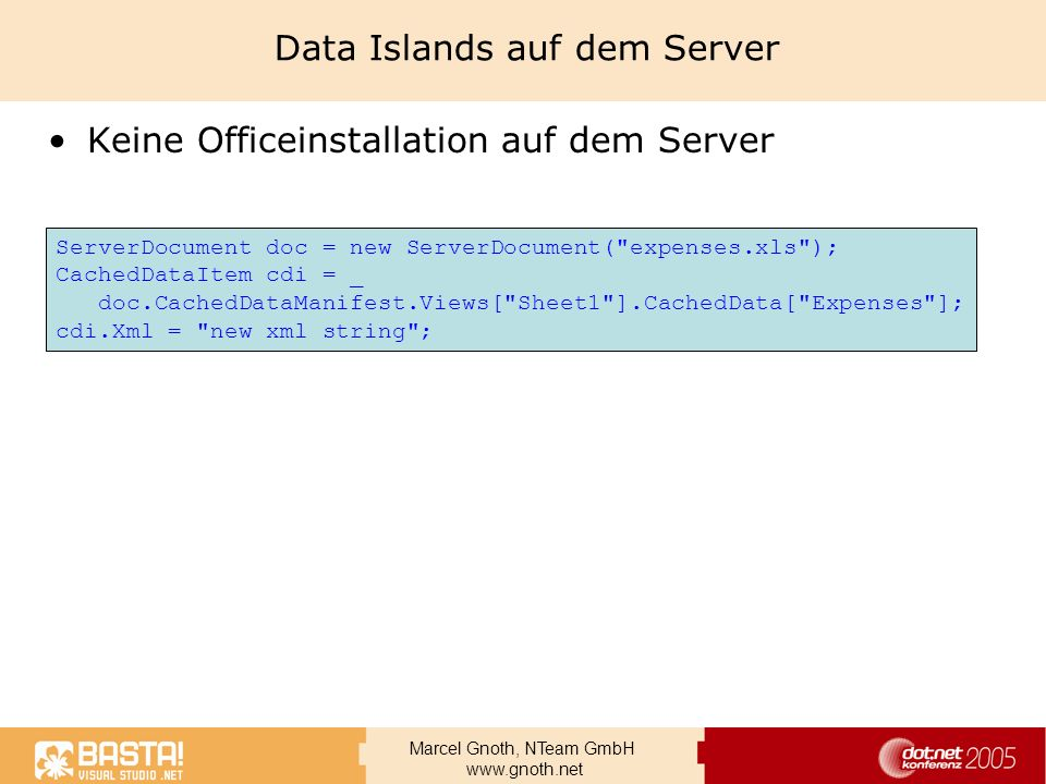 Data Islands auf dem Server