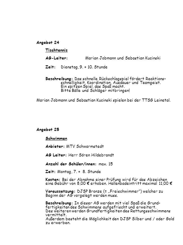 Angebot 24 Tischtennis AG-Leiter: