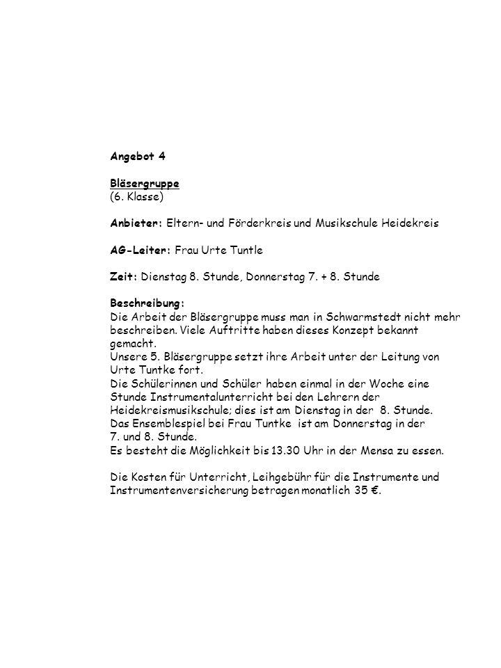 Angebot 4 Bläsergruppe (6