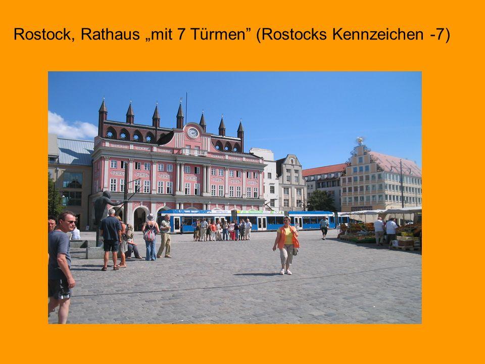 """Rostock, Rathaus """"mit 7 Türmen (Rostocks Kennzeichen -7)"""