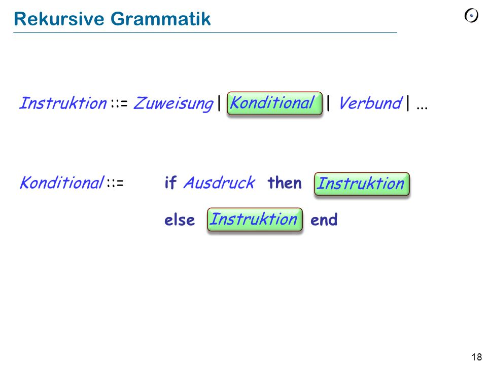 Rekursive Grammatik Instruktion ::= Zuweisung | Conditional | Verbund | ... Konditional ::= if Ausdruck then Instruction.
