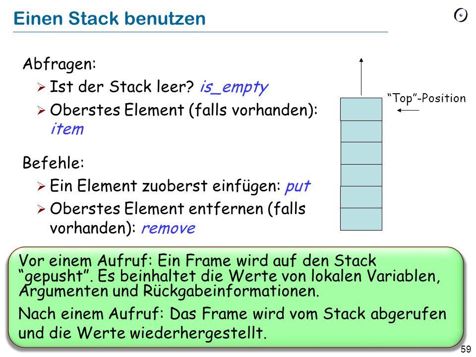 Einen Stack benutzen Abfragen: Ist der Stack leer is_empty