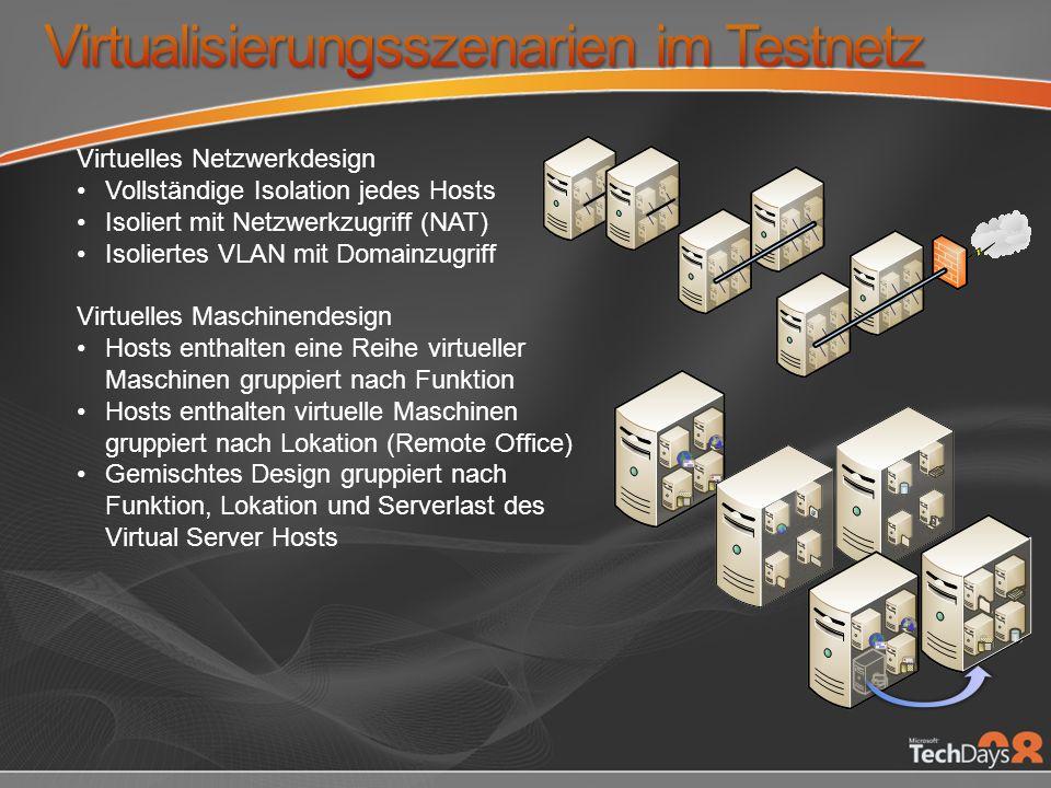 Virtualisierungsszenarien im Testnetz