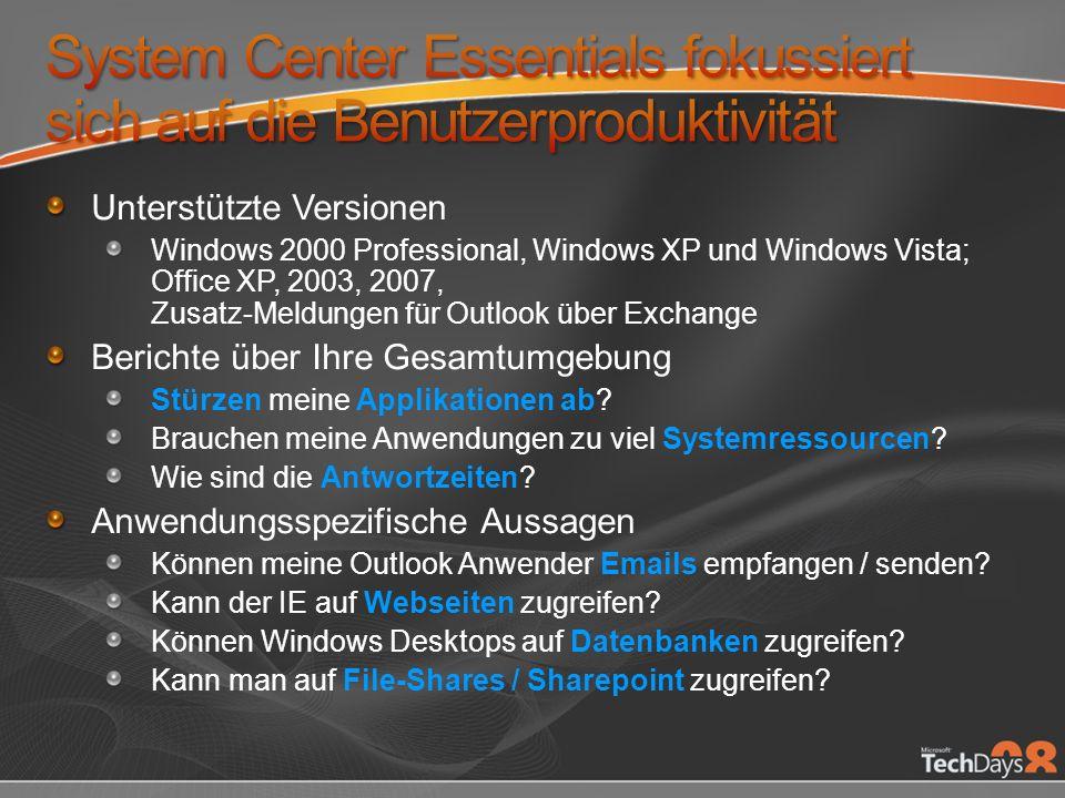 System Center Essentials fokussiert sich auf die Benutzerproduktivität
