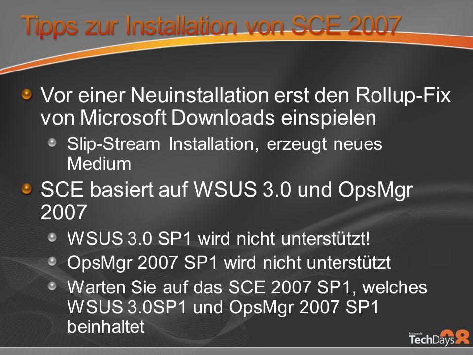 Tipps zur Installation von SCE 2007