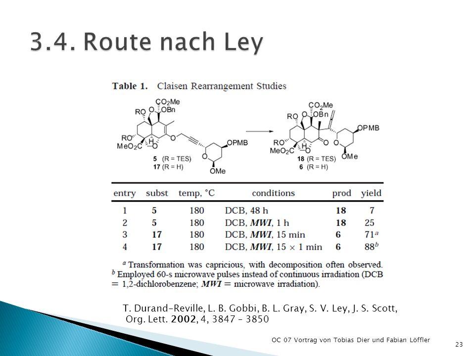 3.4. Route nach Ley T. Durand-Reville, L. B. Gobbi, B. L. Gray, S. V. Ley, J. S. Scott, Org. Lett. 2002, 4, 3847 – 3850.