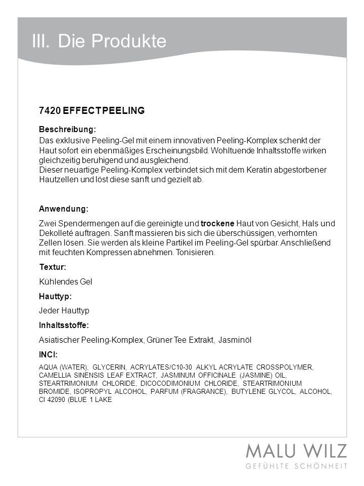 III. Die Produkte 7420 EFFECT PEELING Beschreibung: