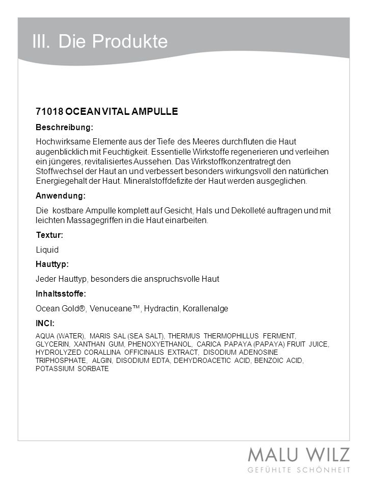 III. Die Produkte 71018 OCEAN VITAL AMPULLE Beschreibung: