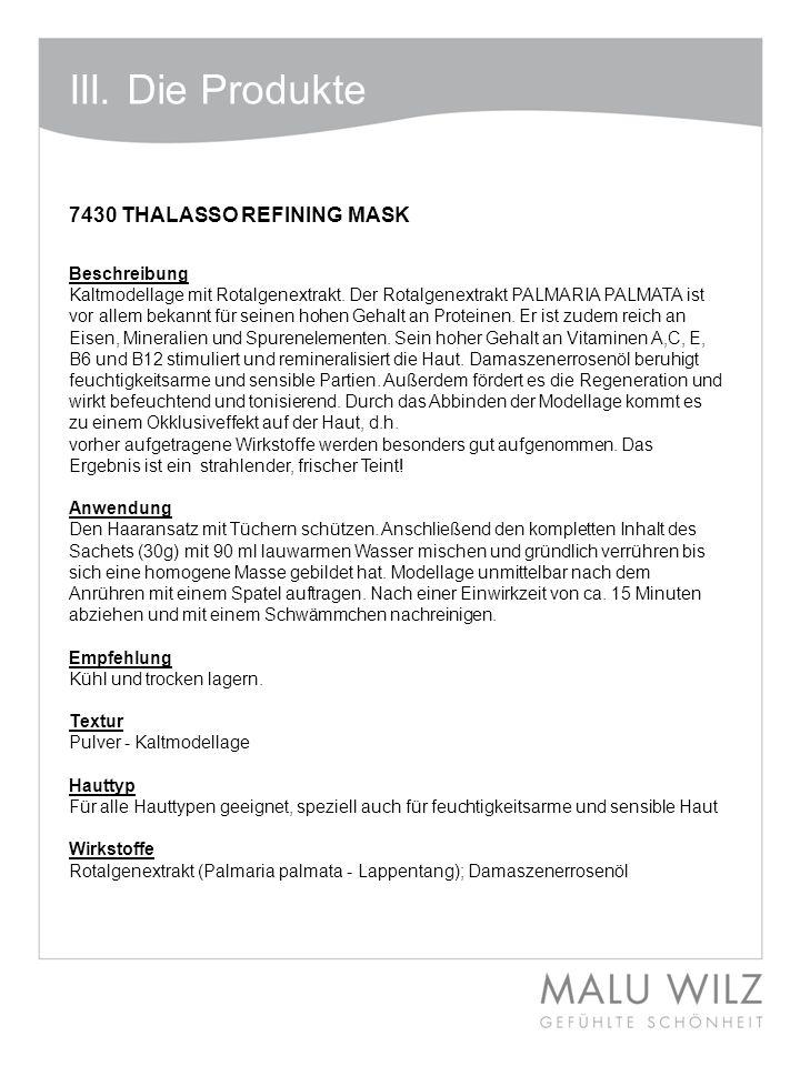 III. Die Produkte 7430 THALASSO REFINING MASK Beschreibung