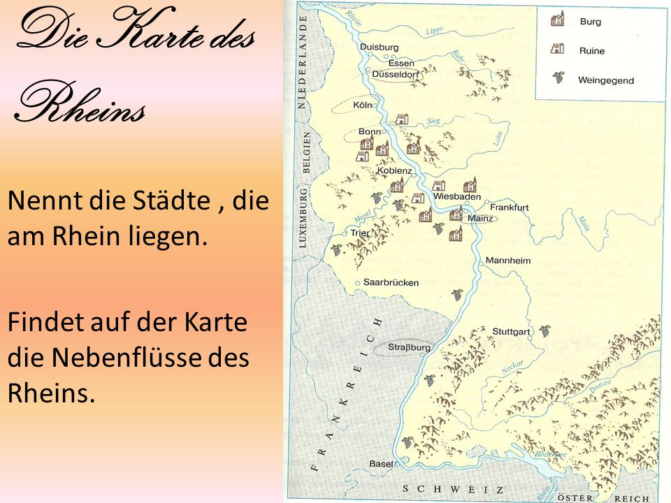 Die Karte des Rheins Nennt die Städte , die am Rhein liegen.
