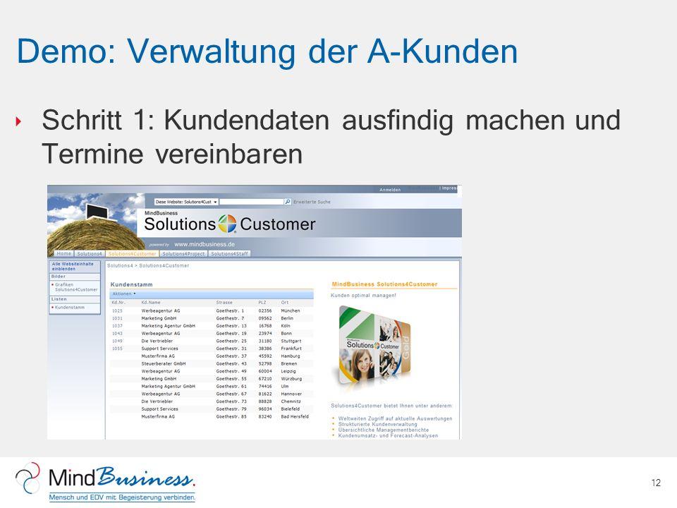 Demo: Verwaltung der A-Kunden