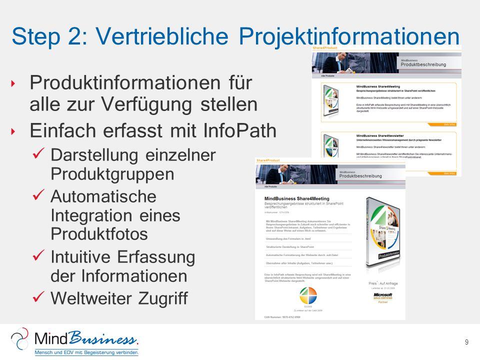 Step 2: Vertriebliche Projektinformationen