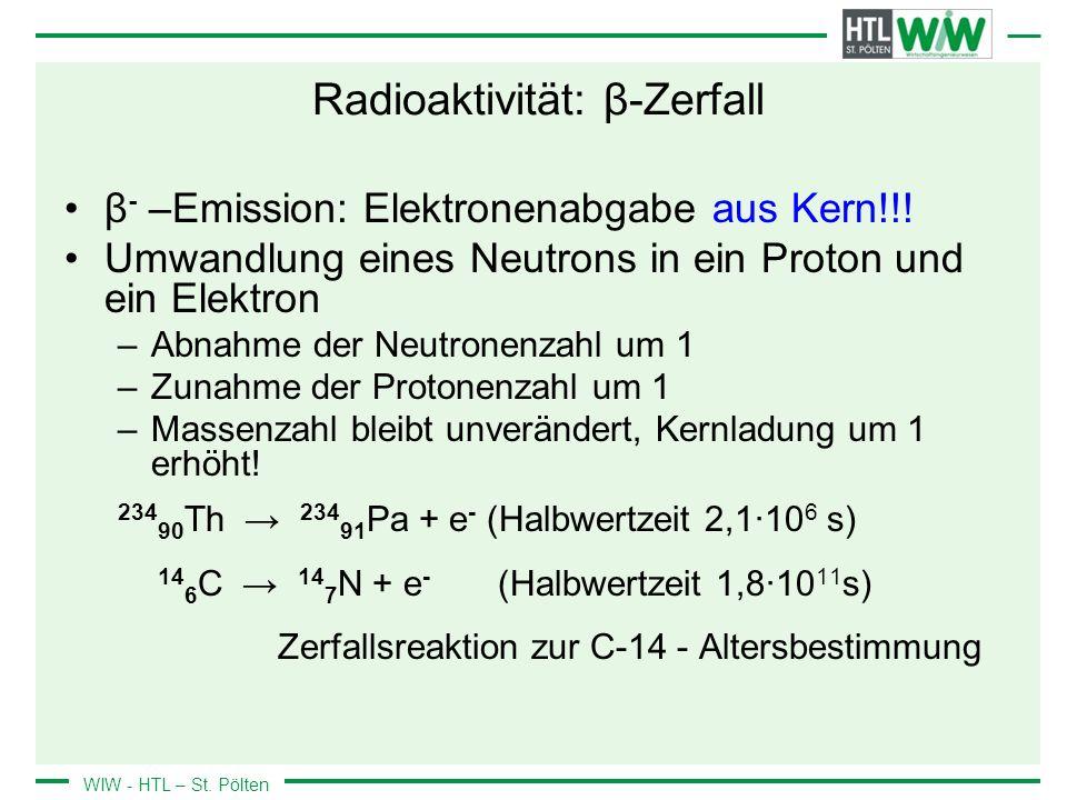 Radioaktivität: β-Zerfall