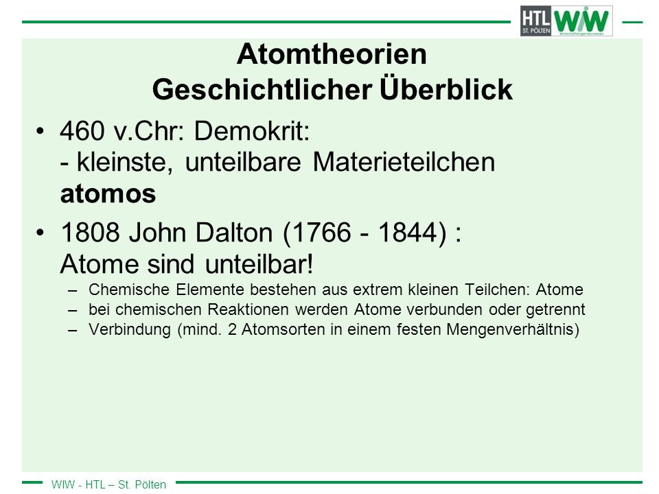 Atomtheorien Geschichtlicher Überblick